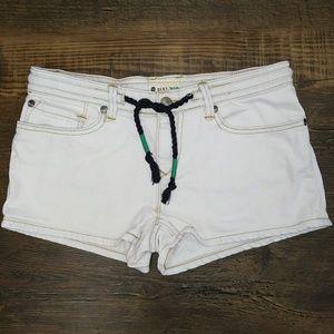 Roxy Size 3 / 26 White Denim Shorts Braided Ties